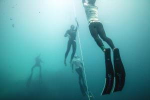 Matt Malina freediving to 114m during Vertical Blue Wimbledon photography showing last meters before surfacing