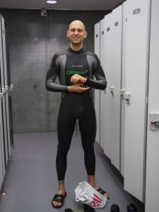 Matt Malina in aquasphere wetsuit moment before breaking world record dnf 226m freediving
