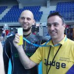 Matt Malin with Petar Bojovic after breaking world record in dynamic apnea 285m