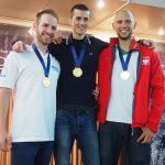 Matt Malina Limitless Aleix Segura Vendrell George on podium world champion ceremony gold medal freediving world championships -4