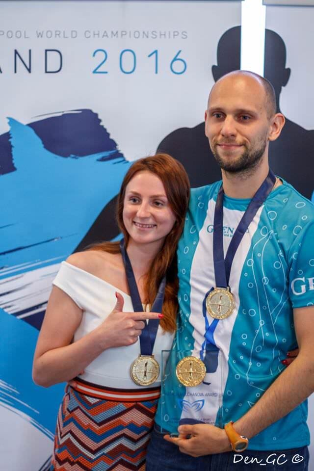 Matt Malina and Ola kiszczak with medals