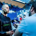 Matt Malina gives interview to media after breaking new world record in dynamic apnea