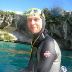 Limitless Matt Malina Dean's Blue Hole freediving sitting on platform